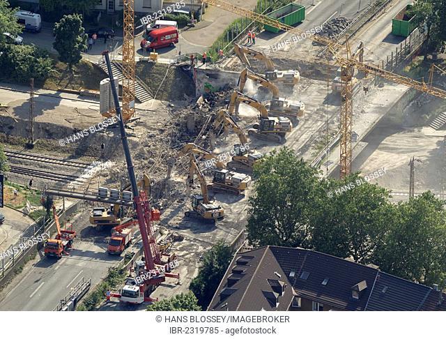 Aerial view, 8 demolition crawler excavators working on the demolition of the A40 motorway bridge, Hohenburgstrasse street, full closure of road, Essen