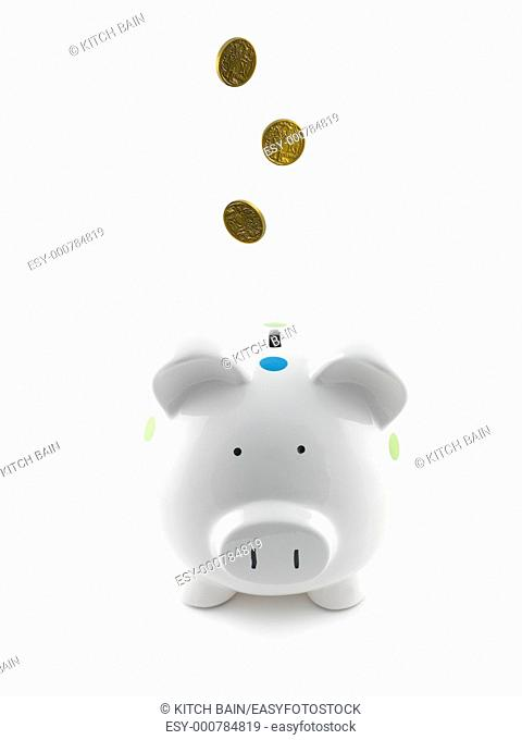 A piggy bank isolated against a white background