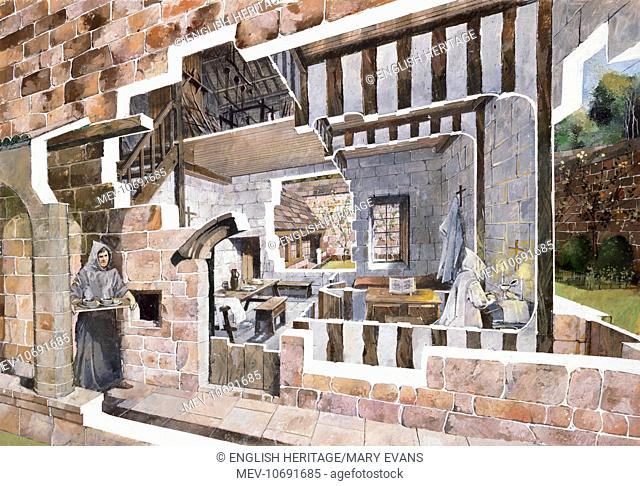 Mount Grace Priory, North Yorkshire. Cutaway reconstruction drawing of monks cells by Ivan Lapper