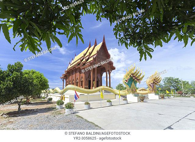 The beautiful teak wood temple Wat Ao Noi, Prachuap Khiri Khan, Thailand