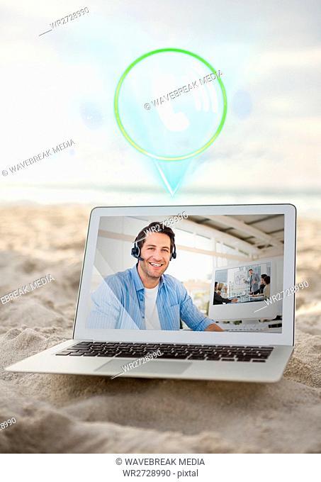 Digital composite image of man having video call on laptop