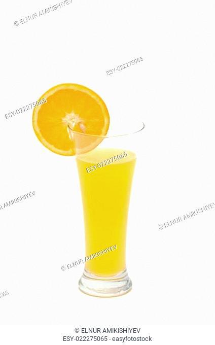 Oranges juice isolated on the white background