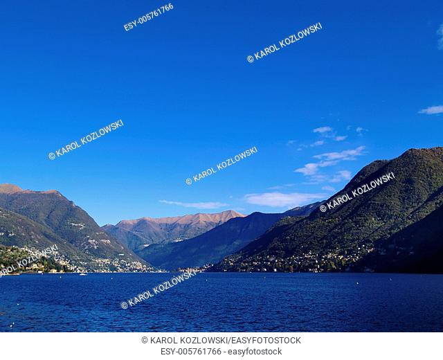 Como Lake and Mountains in a province of Lombardy, Italy