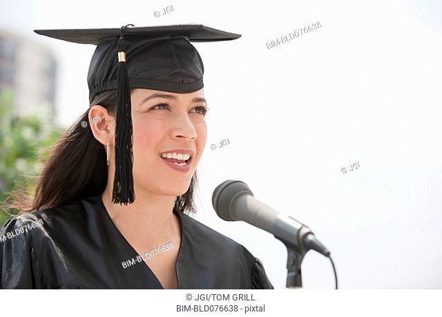 Hispanic valedictorian giving speech