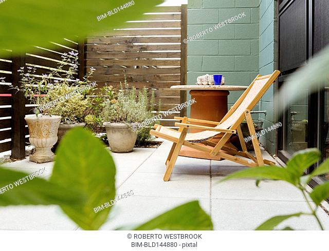 Landscaping and patio of modern condo building