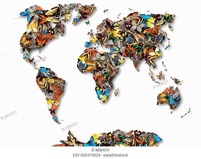 Butterfly World Map Wing Stock Photos And Images Age Fotostock