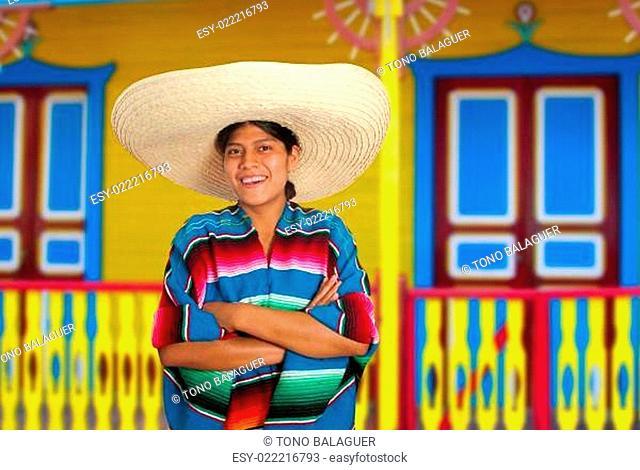 Latin mexican hispanic sombrero poncho woman