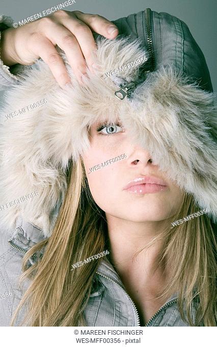 Woman,wearing winter fashion, portrait