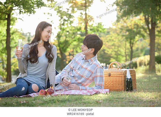 Couple on a picnic at park both looking at each other with a smile