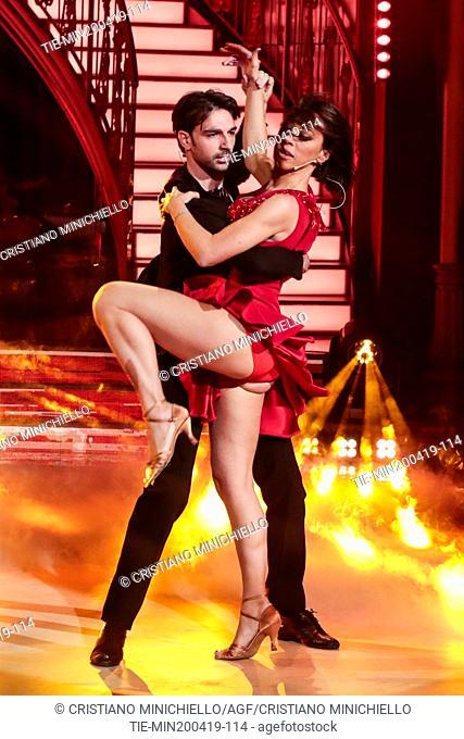 Nunzia De Girolamo during the performance at the tv show Ballando con le stelle (Dancing with the stars) Rome, ITALY-20-04-2019