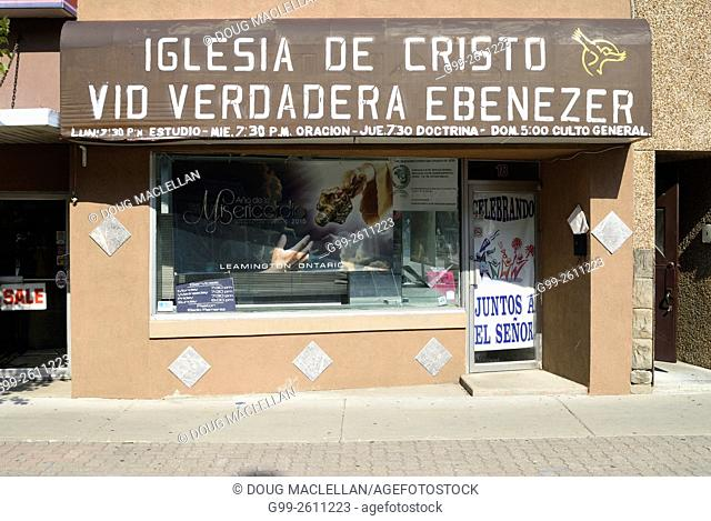 A church for Spanish speaking people - mostly migrant workers - in a storefront in Leamington, Ontario, Canada