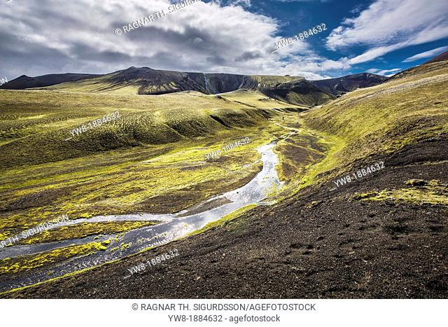 Riverbed with lava and moss landscape, Landmannalaugar, Iceland Landmannalaugar- popular destination for hiking and camping with unusual geological elements...