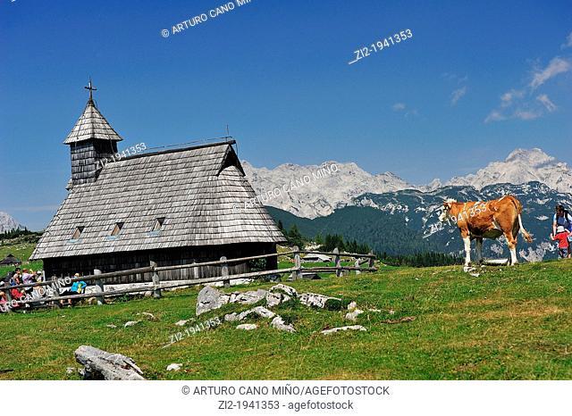 Romanesque chapel in the Alps of Kamniške-Savinja. Velika Planina, Slovenia