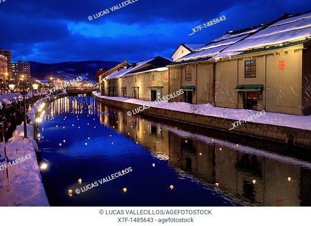 Otaru Canal,snow festival,Otaru Yuki-akari-no-michi,Otaru,Hokkaido,Japan