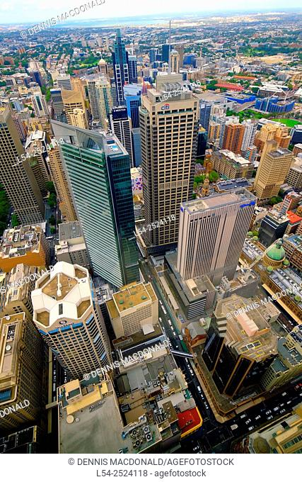 Aerial View Downtown Sydney Australia New South Wales AU