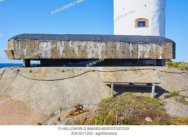 Bunker of the Landsort Battery used to deter invasion during WW2 and the Cold War and Oja Lighthouse, (Landsort), the southernmost point in the Stockholm...