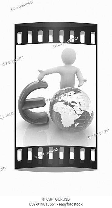 3d people - man, person presenting - euro with global concept with Earth. The film strip