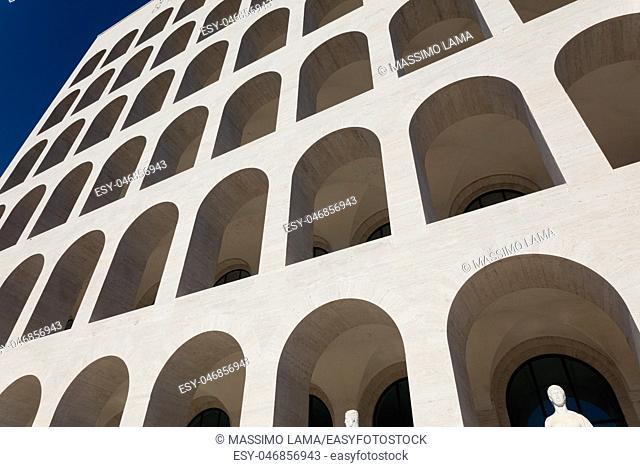 Palazzo della Civilta del Lavoro in EUR Rome Italy