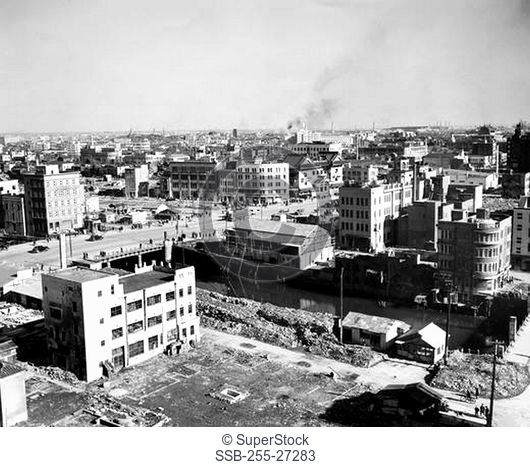 High angle view of demolished buildings after a bombing, Tokyo, Japan