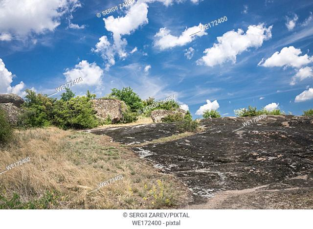 Granite Arbuzinka Rocks in the canyon near the Aktovo village, on the Mertvovod river in Ukraine. One of natural wonders of Europe