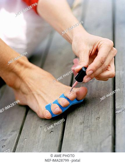 Nail polish on toenails