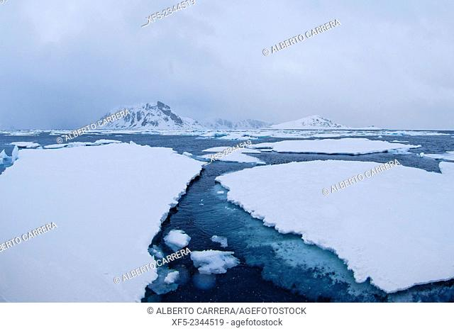 Drift floating Ice and Snowcapped Mountains, Albert I Land, Arctic, Spitsbergen, Svalbard, Norway, Europe