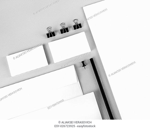 Photo of blank stationery and corporate identity template on gray background. Branding identity template. For design presentations and portfolios