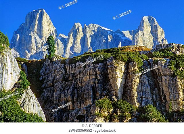 dolomite towera at the Nature Park D'Ampezzo at the Falzerego Pass, Italy, South Tyrol, Dolomites