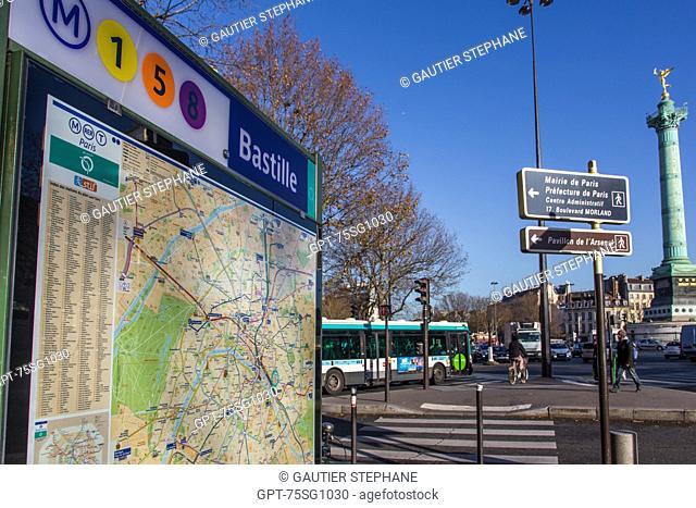 BASTILLE METRO STATION, PLACE DE LA BASTILLE, 4TH ARRONDISSEMENT, (75) PARIS, ILE-DE-FRANCE, FRANCE