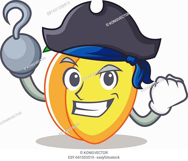 Pirate apricot character cartoon style vector illustration