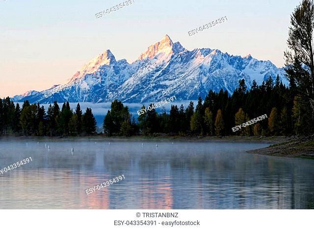 View of the Teton mountain range from Colter Bay in Grand Teton National Park, Wyoming