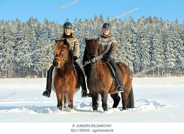 two young women on Icelandic horses - standing in the snow