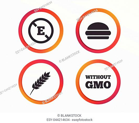 Food additive icon. Hamburger fast food sign. Gluten free and No GMO symbols. Without E acid stabilizers. Infographic design buttons. Circle templates