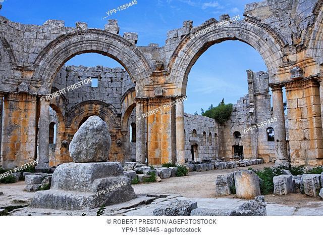 St Simeon's pillar in the ruins of the church of St Simeon, Syria