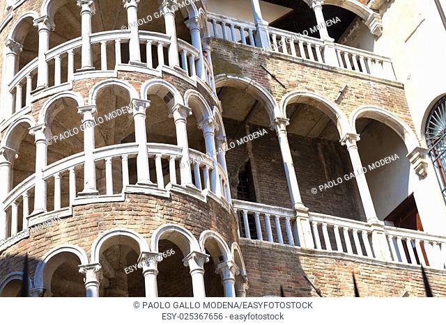 Scala Contarini del Bovolo - Venezia Italy / Detail of the Scala Contarini del Bovolo of Contarini Palace in the city of Venezia (UNESCO world heritage site)