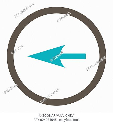 Sharp Left Arrow flat grey and cyan colors rounded vector icon
