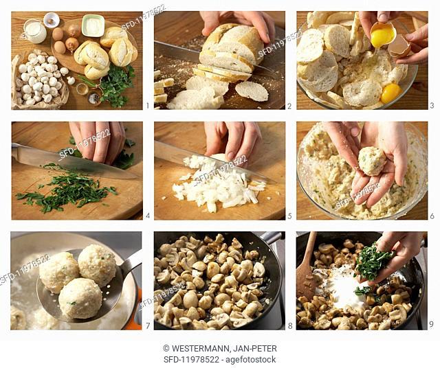 Mini bread dumplings with a mushroom ragout being made