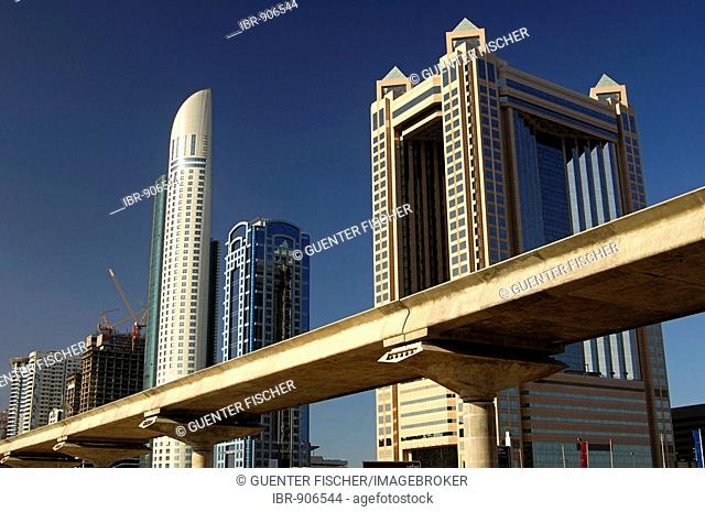 Building site on the Sheikh Zayed Road, elevated-road-project, f.l.t.r. Park Place Tower, API World Tower, Fairmont Tower, Dubai, United Arab Emirates