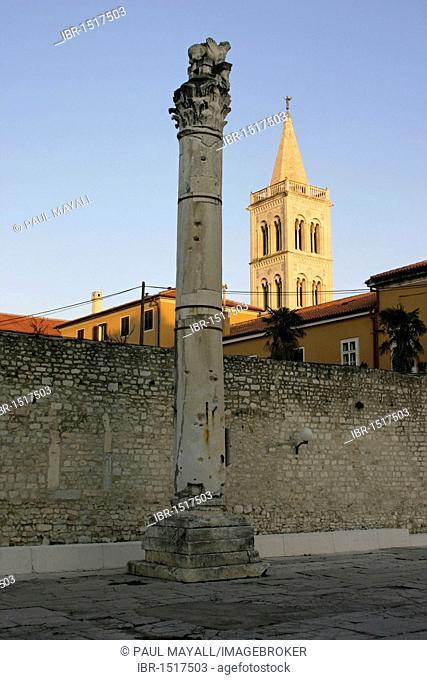 Roman column and the cathedral belfry, Zadar, Croatia, Europe