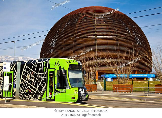 A commuter tram stopped at the CERN accelerator facility, Geneva, Switzerland