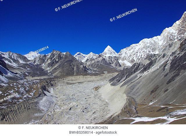 view from pre-summit of Chhukhung Ri to Pumori and Nutpse glacier, Nepal, Himalaya, Khumbu Himal
