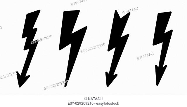 Vector contour, black illustration of lightning on white background