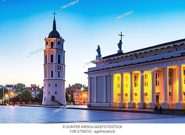 The Cathedral Square with the Vilnius Cathedral and the free-standing bell tower is located in the old town of Vilnius, Lithuania, Baltic States, Europe