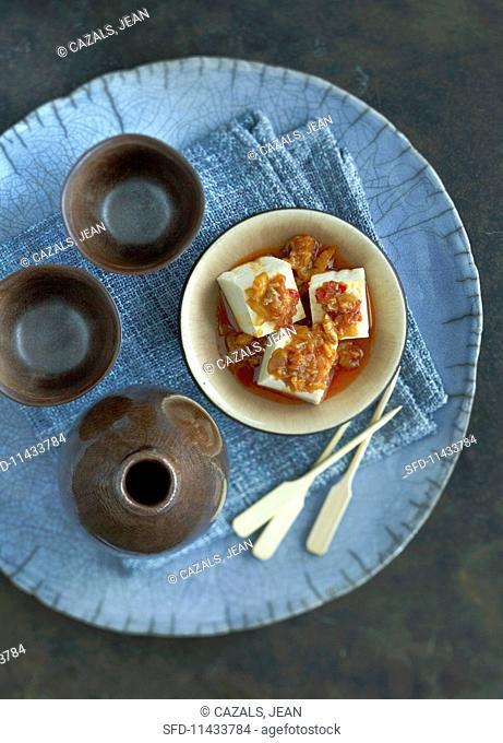 Diced tofu in a chilli sauce (China)