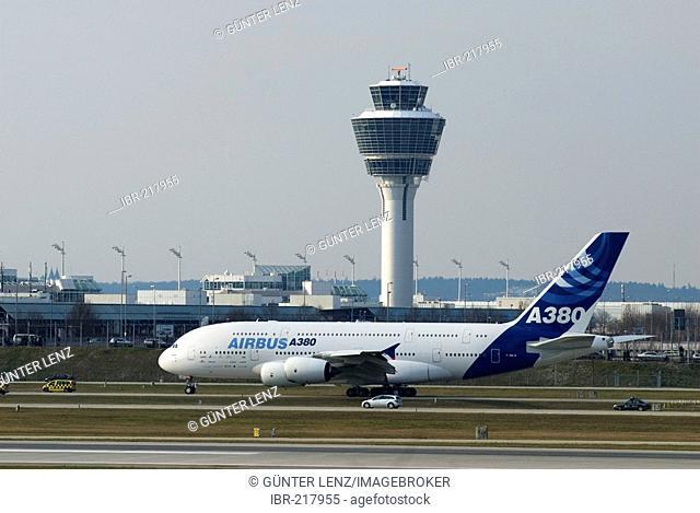 Airbus A380 landing on Franz-Josef-Strauss-Airport, Munich, Bavaria, Germany