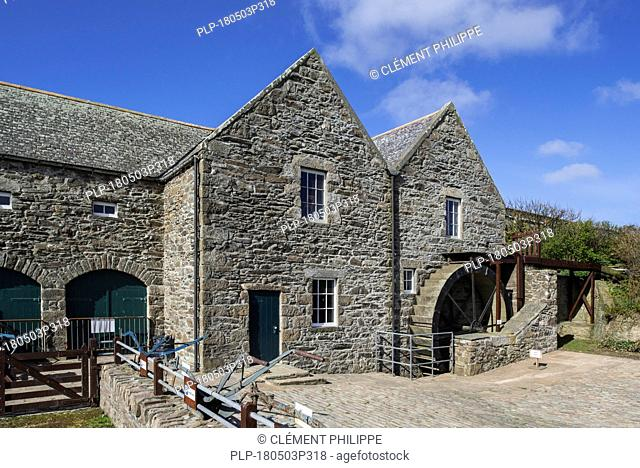 Quendale Mill, restored 19th century overshot watermill / water mill at Dunrossness, Shetland Islands, Scotland, UK