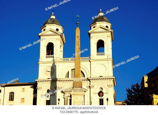 Rome (Italy). Church Trinità dei Monti in the Plaza of Spain of the city of Rome
