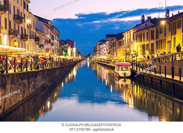 Milan, Lombardy, Italy. The Big Naviglio at dusk