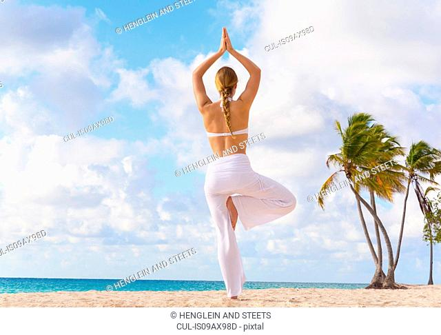 Rear view of young woman practicing yoga tree pose on beach, Dominican Republic, The Caribbean
