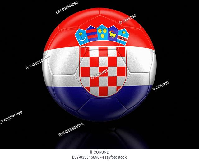 Soccer football with Croatian flag. Image with clipping path